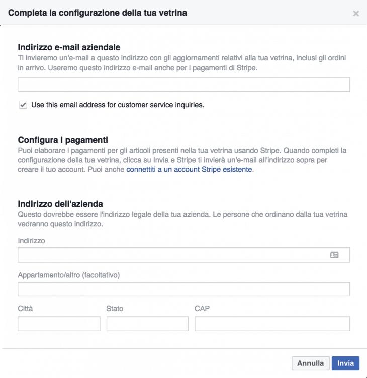 Configurazione Vetrina Facebook - Webit