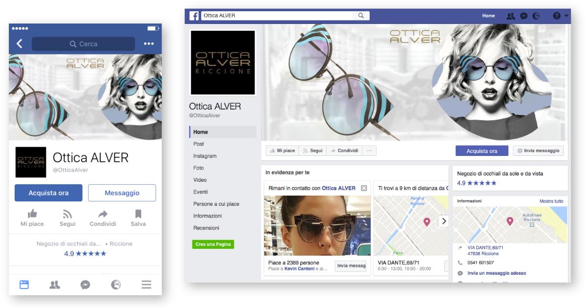 Ottimizzazione pagina Facebook per Ottica Alver